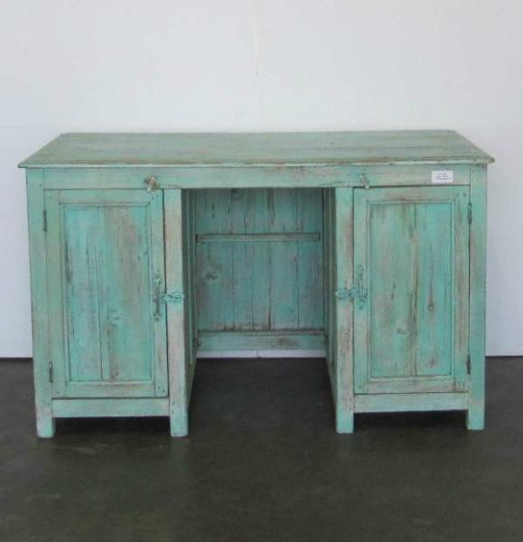 Te Koop Houten Bureau.Blauw Bureau
